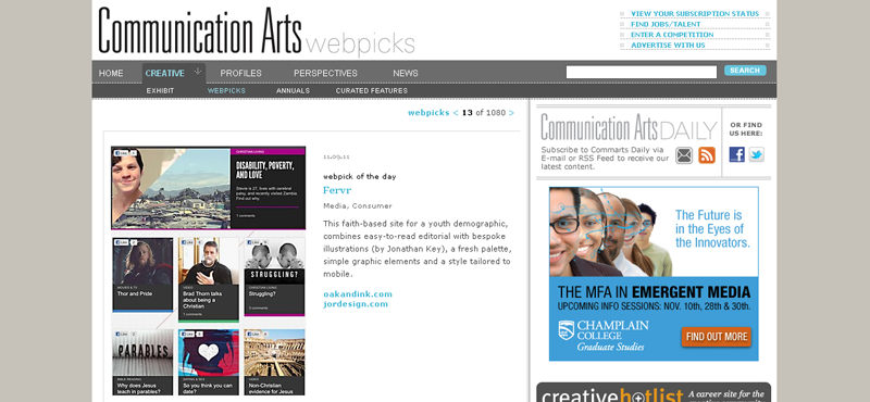 Fervr Comm Arts Webpick of the Day